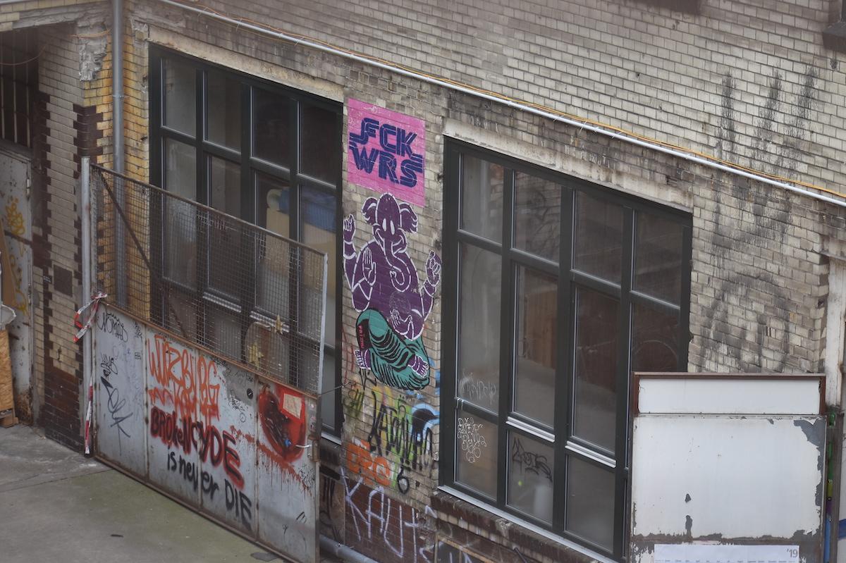 Fck Wars. Street art at Fabrik23 in Berlin.