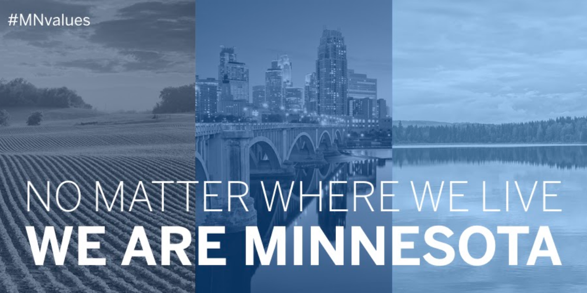 Graphic with photos of urban, rural and lake scenes. Text above says: No matter where we live, we are Minnesota.