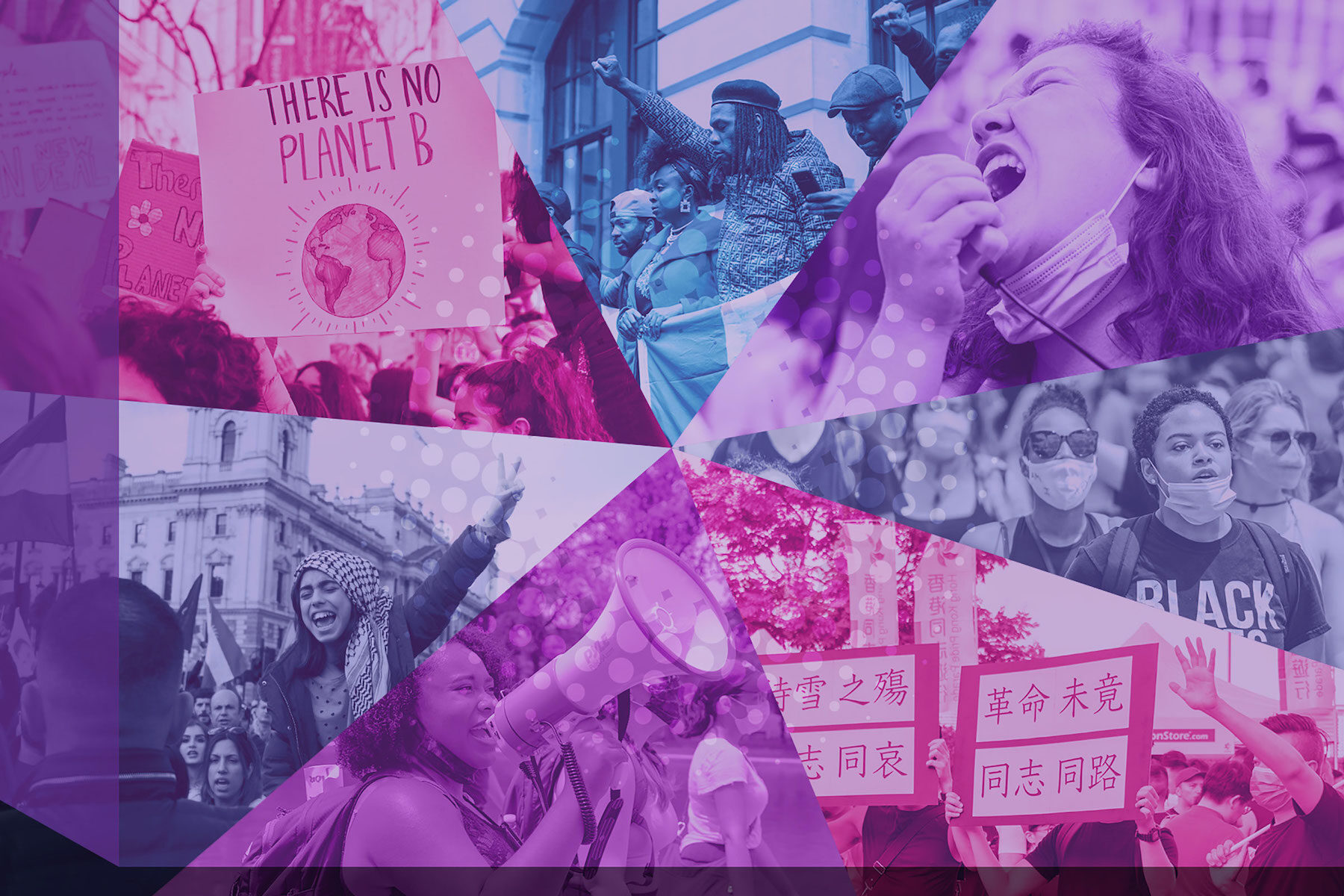 Polyvocality represented by a collage of images showing people speaking out and making their voice heard.